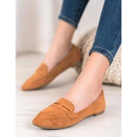 Best Shoes Zamszowe Mokasyny W Szpic brązowe 3