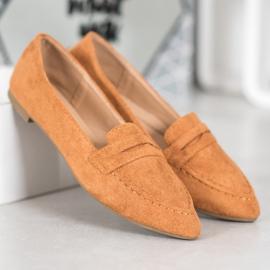 Best Shoes Zamszowe Mokasyny W Szpic brązowe 1
