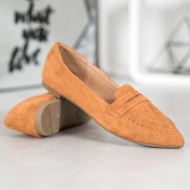 Best Shoes Zamszowe Mokasyny W Szpic brązowe 4