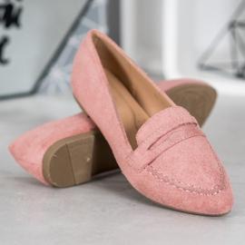 Best Shoes Zamszowe Mokasyny W Szpic różowe 3