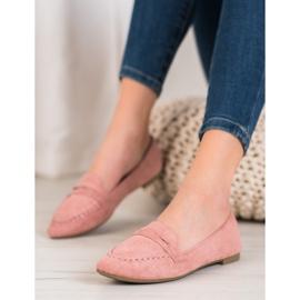 Best Shoes Zamszowe Mokasyny W Szpic różowe 1