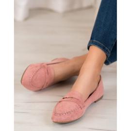 Best Shoes Zamszowe Mokasyny W Szpic różowe 2
