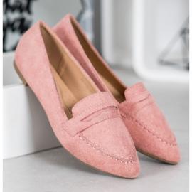 Best Shoes Zamszowe Mokasyny W Szpic różowe 4