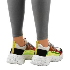 Białe sneakersy sportowe zdobione HL-03 czarne czerwone zielone 3