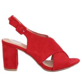 Sandałki na obcasie czerwone F1827 Red 1