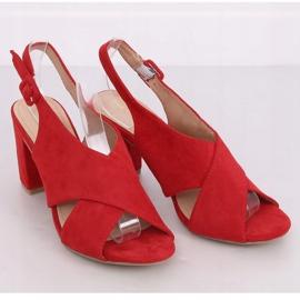Sandałki na obcasie czerwone F1827 Red 2