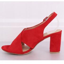 Sandałki na obcasie czerwone F1827 Red 3