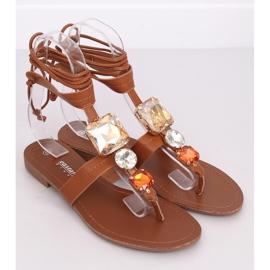 Sandałki japonki z kamieniami camel JH126P Camel brązowe 1