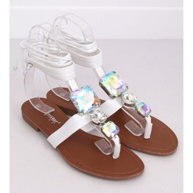Sandałki japonki z kamieniami białe JH126P White 1