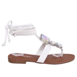Sandałki japonki z kamieniami białe JH126P White 2