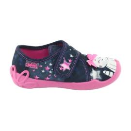 Befado obuwie dziecięce 122X003 granatowe różowe wielokolorowe 1