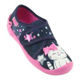 Befado obuwie dziecięce 122X003 granatowe różowe wielokolorowe 2