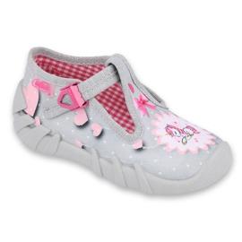 Befado obuwie dziecięce 110P359 różowe szare 1