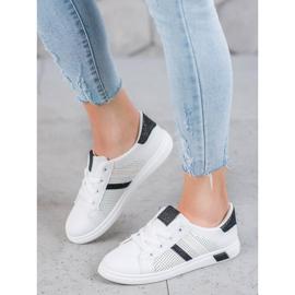 SHELOVET Białe Buty Sportowe Z Brokatem czarne 3