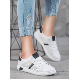 SHELOVET Białe Buty Sportowe Z Brokatem czarne 4