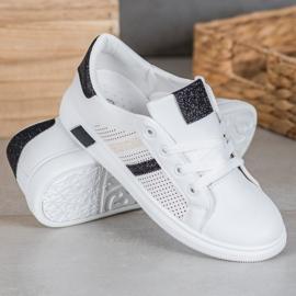 SHELOVET Białe Buty Sportowe Z Brokatem czarne 1