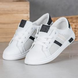 SHELOVET Białe Buty Sportowe Z Brokatem czarne 2