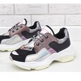 Czarne stylowe sneakersy sportowe B0-206 wielokolorowe 3