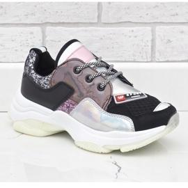 Czarne stylowe sneakersy sportowe B0-206 wielokolorowe 2