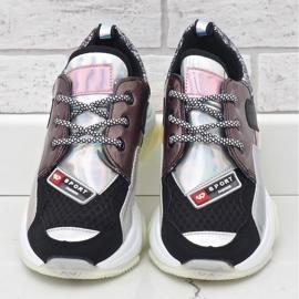 Czarne stylowe sneakersy sportowe B0-206 wielokolorowe 1