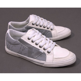 Materiałowe Tenisówki A961 Biały 2
