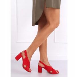 Sandałki na obcasie czerwone F1827 Red 5