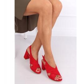 Sandałki na obcasie czerwone F1827 Red 4