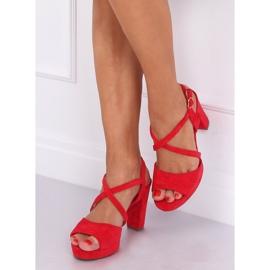 Sandałki na obcasie czerwone 9272 Rojo 3