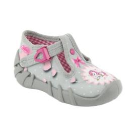 Befado obuwie dziecięce 110P359 różowe szare 3