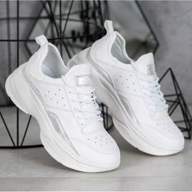 Kylie Wygodne Sneakersy Na Platformie białe szare 1