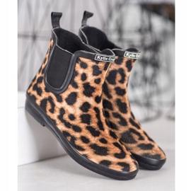 Kylie Zamszowe Kalosze Leopard Print brązowe czarne 1