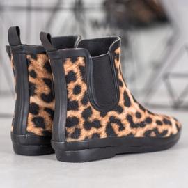 Kylie Zamszowe Kalosze Leopard Print brązowe czarne 2