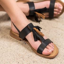Small Swan Klasyczne Sandałki Z Frędzlami czarne 1