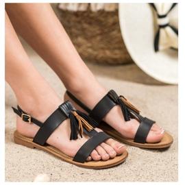Small Swan Klasyczne Sandałki Z Frędzlami czarne 3