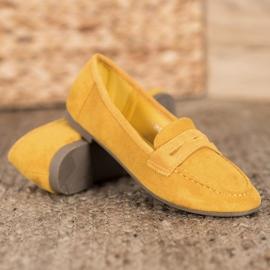 SHELOVET Casualowe Mokasyny Z Zamszu żółte 2
