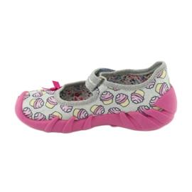 Befado obuwie dziecięce 109P197 różowe szare 3