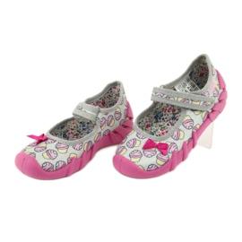 Befado obuwie dziecięce 109P197 różowe szare 4