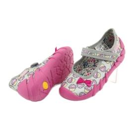Befado obuwie dziecięce 109P197 różowe szare 5
