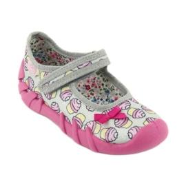 Befado obuwie dziecięce 109P197 różowe szare 2