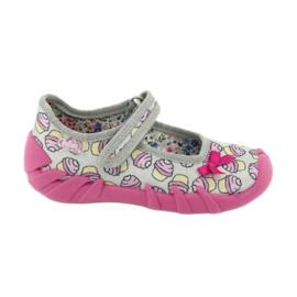 Befado obuwie dziecięce 109P197 różowe szare 1