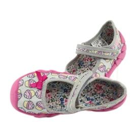 Befado obuwie dziecięce 109P197 różowe szare 6