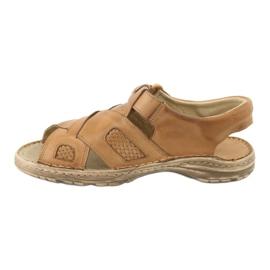 Komfortowe Sandały Skórzane Naszbut 036/A brązowe 2