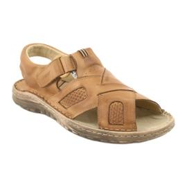 Komfortowe Sandały Skórzane Naszbut 036/A brązowe 1