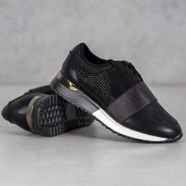 SHELOVET Buty Sportowe Z Kryształkami czarne 1