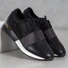 SHELOVET Buty Sportowe Z Kryształkami czarne 2