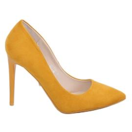 Czółenka na szpilce miodowe NF-51P Yellow żółte 2