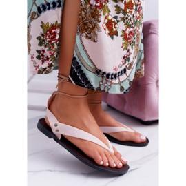Lu Boo Beżowe Wiązane Sandały Japonki Meliski Florence beżowy 2
