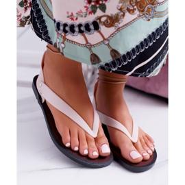 Lu Boo Beżowe Wiązane Sandały Japonki Meliski Florence beżowy 3