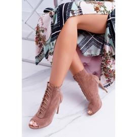 Lu Boo Sznurowane Sandały Otwarte Botki Na Szpilce Natasha brązowe 1