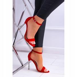 BUGO Damskie Sandały Na Szpilce Zdobionej Cyrkoniami Elida czerwone 3
